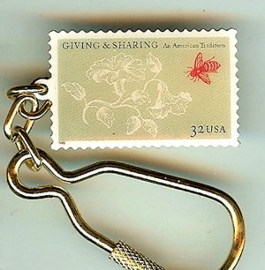 Giving Sharing Philanthropy Stamp Keychain collectible 3243kc S