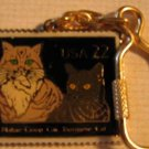Maine Coon and Burmese Cats postage Stamp keychain 2374kc  S