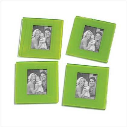 Green Photo Frame Coasters - 4 Pc