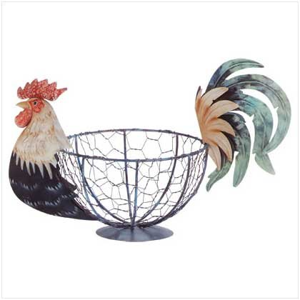 METAL PAINT ROOSTER BASKET