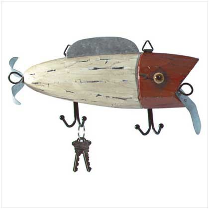 Wood Fish Lure Metal Hook Plaque