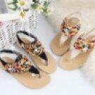 summer women's fashion Bohemian handmade color pearl low heel sandal/shoes