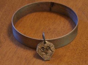 Metal Bracelet with a Fine Silver Skull Men Women