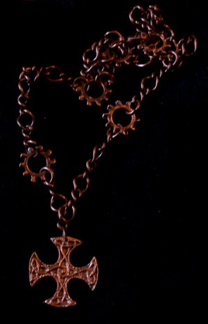 Celtic Copper Cross Pendant Necklace Handmade Handcrafted One of a Kind