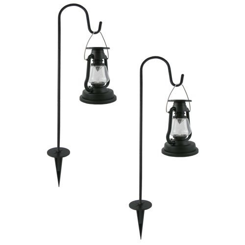 Set of two Solar Lanterns Black with stakes