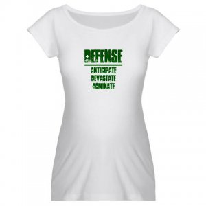 WOMEN'S maternity tee | DEFENSE : anticipate, devastate, dominate [green]