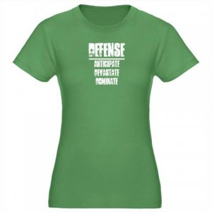 WOMEN'S fitted tee | DEFENSE : anticipate, devastate, dominate [green]