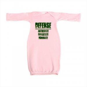 NEWBORN baby gown | DEFENSE : anticipate, devastate, dominate [green]