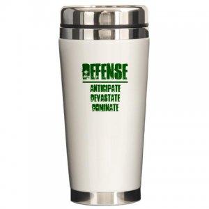 CERAMIC TRAVEL COFFEE MUG | DEFENSE : anticipate, devastate, dominate [green]