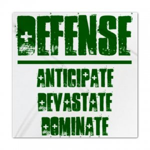 QUEEN DUVET COVER | DEFENSE : anticipate, devastate, dominate [green]