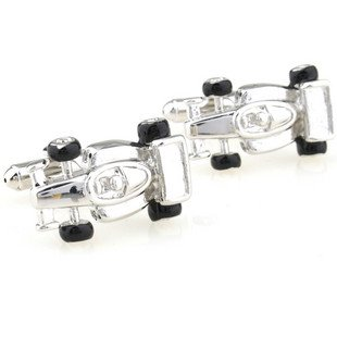 Silver F1 Formula One Racing Car  Novelty Cufflinks FREE Velvet Gift Pouch