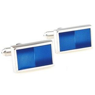Blue Rectangle Modern Cufflinks FREE Velvet Gift Pouch