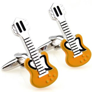 Yellow Electric Guitar Novelty Cufflinks FREE Velvet Gift Pouch