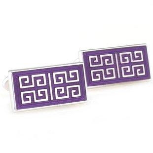 Purple Chinese Culture Style Enamel Cufflinks FREE Velvet Gift Pouch