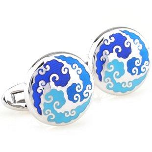 Enamel Blue Auspicious Cloud Cufflinks FREE Velvet Gift Pouch