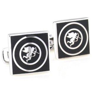 Enamel Square Black Cupid Cufflinks FREE Velvet Gift Pouch