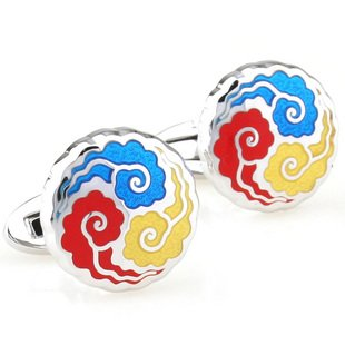 Colorful Auspicious Cloud Enamel Cufflinks FREE Velvet Gift Pouch