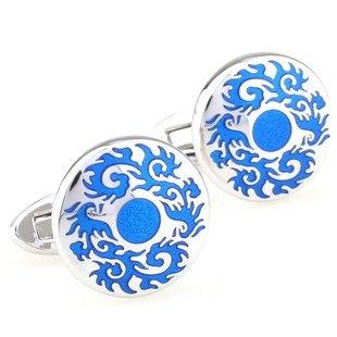 Round Blue Gothic Medallion Cufflinks FREE Velvet Gift Pouch