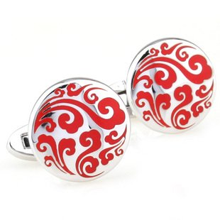 Red Chinese Auspicious Cloud Cufflinks FREE Velvet Gift Pouch