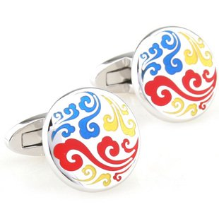 Colorful Chinese Auspicious Cloud Cufflinks FREE Velvet Gift Pouch