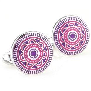 Purple Deco Maltese Enamel Cufflinks FREE Velvet Gift Pouch