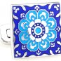 Blue Tracery Square Enamel Cufflinks FREE Velvet Gift Pouch