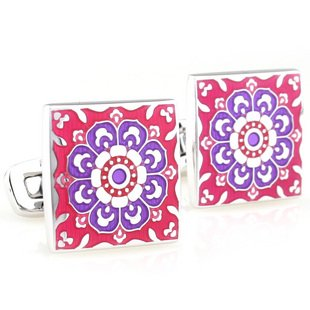 Purple & Red Tracery Square Enamel Cufflinks FREE Velvet Gift Pouch