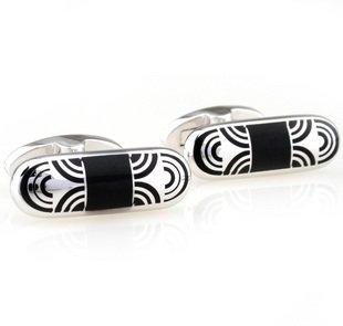 Black Bullet Oval Shape Enamel Cufflinks FREE Velvet Gift Pouch
