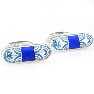 Blue Bullet Oval Shape Enamel Cufflinks FREE Velvet Gift Pouch