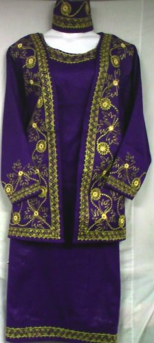 African Women Clothing 4PCs Skirt Set outfit Purple Gold 9104 1X 2X 3X
