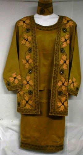 African Women Clothing 4PCs Skirt Set outfit Mustard Gold 9104 1X 2X 3X