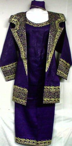 African Women Clothing 4PCs Skirt Set outfit Purple Gold 9107 1X 2X 3X