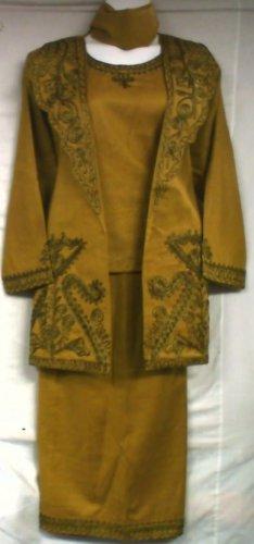 African Women Clothing 4PCs Skirt Set outfit Mustard Gold 9127 1X 2X 3X