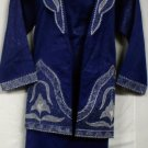 African Women Clothing 4PCs Skirt Set outfit D Blue Silver 847 1X 2X 3X