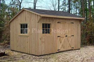 10' X 12' Saltbox Roof Style Storage Shed Project Plans, Design #71012