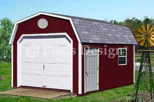 12' X 16' Barn Roof Style Garage Project Plans, Design #31216