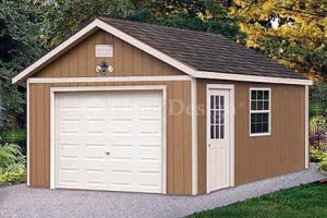 12' X 16' Car Garage Shed Project Plans, Design #51216