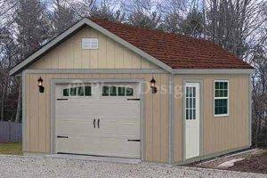 16' X 24' Car Garage or Workshop Project Plan, Design #51624