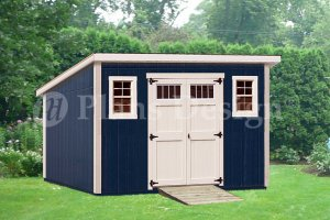 10' x 14' Deluxe Modern Backyard Storage Shed Plans, Design #D1014M