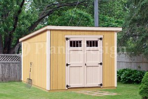 Shed Plans 8 x 10 Deluxe Modern Roof Style Design D0810M