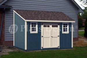 8' x 14' Deluxe Lean-To Roof Style Shed Plans, Material List Inluded, Design #D0814L