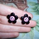 Pink & Black Smiling Dasiy Earrings