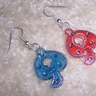 Red & Blue Mushroom earrings