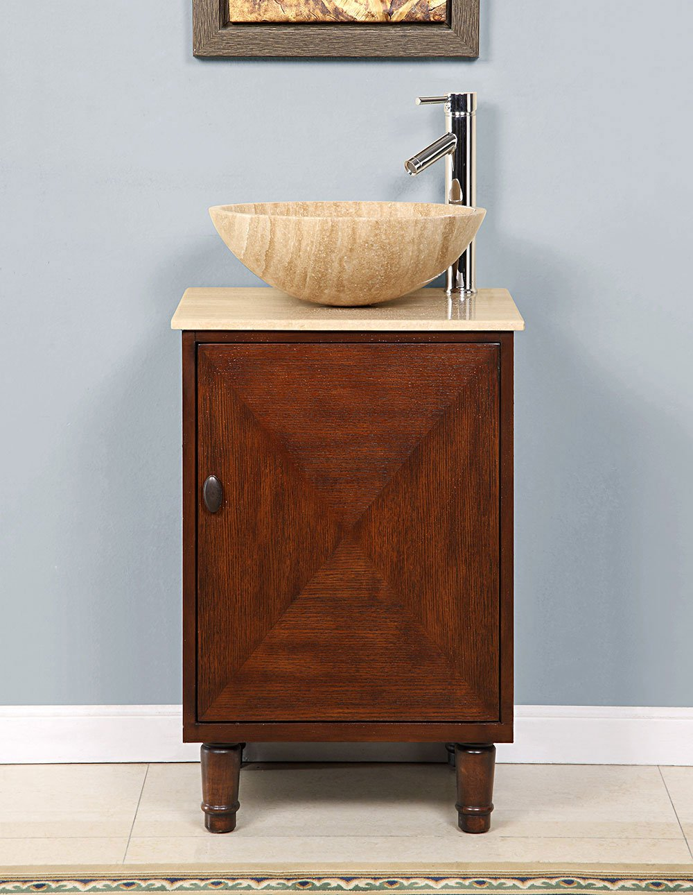 20 Leah Contemporary Travertine Single Vessel Sink Bathroom Vanity Ca