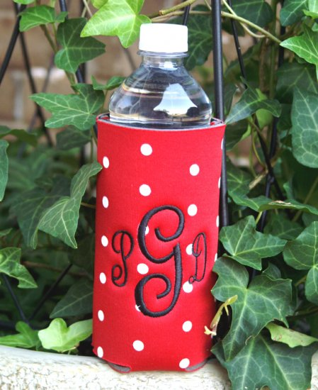 Monogrammed Polka Dot Water Bottle Koozie