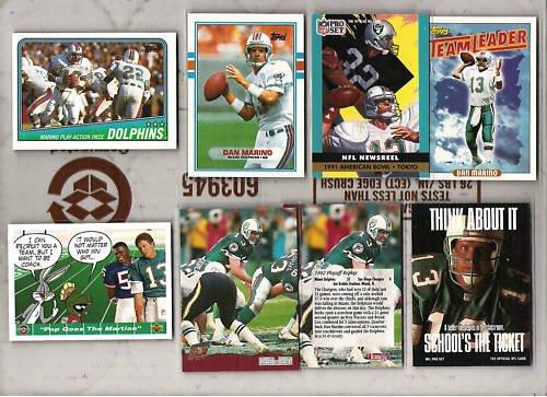 DAN MARINO (8) Card Lot w/ 1988 + 89 Topps, M. Allen++