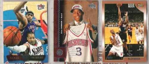 ALLEN IVERSON (3) Lot w/ 1996 UD RC, 01 Ultra, 98 Topps