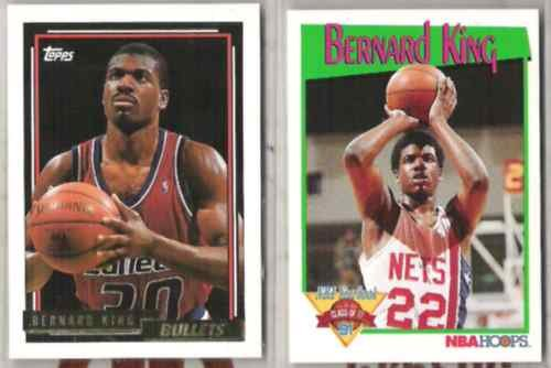 BERNARD KING (2) Cards - 1992 Topps GOLD + 1991 Hoops