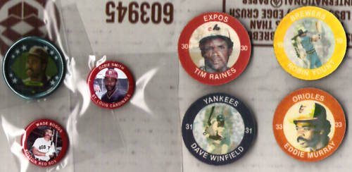 BOGGS, GWYNN, OZ, YOUNT, MURRAY, WINFIELD, RAINES - ODD Pogs, Pins