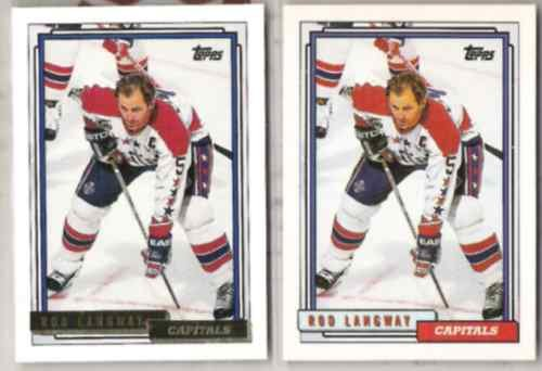 ROD LANGWAY (2) Card Lot - 1992 Topps GOLD w/ sister